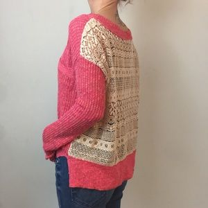Free People Coral Crochet Back Long Sleeve Sweater